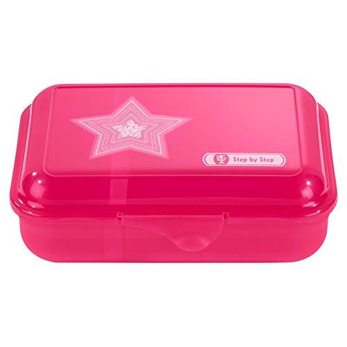 """Step by Step Lunchbox """"Glamour Star"""", pink, mit Trennwand und Klickverschluss, spülmaschinenfest, BPA-frei, für Schule und Kindergarten, für Mädchen, 0,9 Liter"""