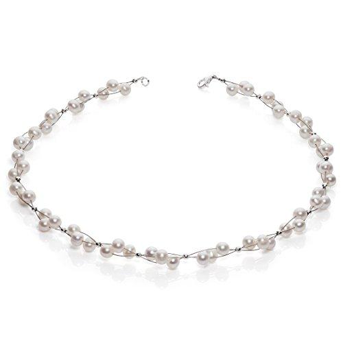 Kette Collier Süßwasser Perlen Zuchtperlen creme weiß Hochzeit Brautschmuck Damen