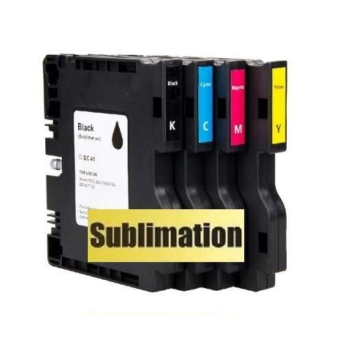 SUBLIMATION Druckerpatronen, Tintenpatronen wie Ricoh GC-41 black, cyan, magenta, yellow für Aficio SG 3100, snw, 3110 dn, dnw, n, SFNw, 3120 B SF, B SFN, B SFNw, 7100 dn mit Sublimationstinte befüllt