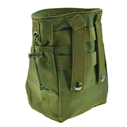 CREATRILL Tactical Molle Drawstring Magazine Dump Pouch, Military Adjustable Belt Utility Fanny Hip Holster Bag Outdoor Ammo Pouch (Olive drab)