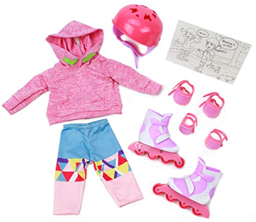 """Club Eimmie 18"""" Doll Clothing Playtime Packs - Doll Accessories, Doll Shoes, and Doll Clothes - Roller Skating Doll Outfit"""