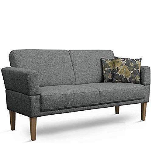 Cavadore 3-Sitzer Sofa Femarn mit Federkern / Küchensofa für Esszimmer oder Küche / 190 x 98 x 81 / Strukturstoff Grau
