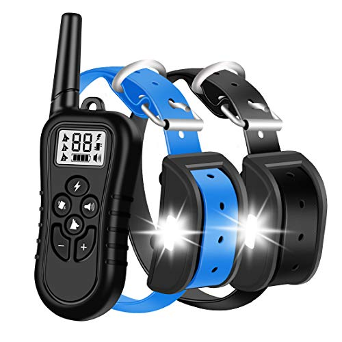 HISEASUN Dog Training Collar for 2 Dogs Waterproof Rechargeable Range 1400 Ft New 2020 Shock Collar for 2 Dogs with Tracking Light,Beep,Vibration and Shock