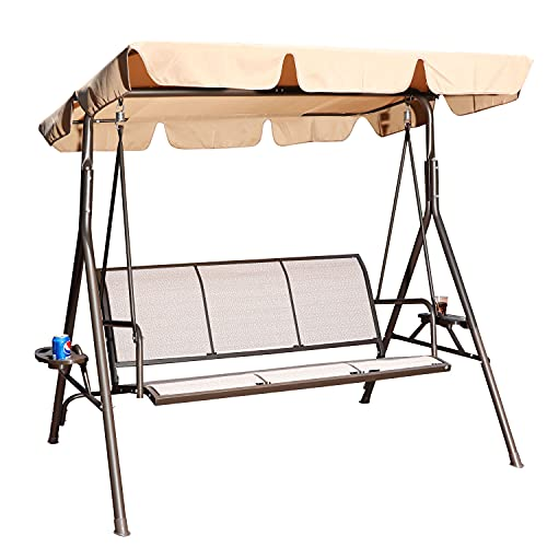 GOLDSUN 3 Person Patio Swing Seat with Adjustable Canopy, All Weather Resistant Hammock Swinging Chair Bench for Patio, Garden, Poolside, Balcony (Taupe)