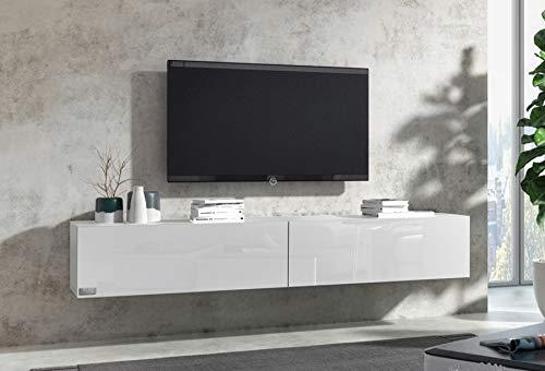 Wuun® 140cm/ Front Weiß-Hochglanz (Korpus Perl-Matt-Grau)/8 Größen/6 Farben/TV Lowb8ard TV Board hängend Hängeschrank Wohnwand/Somero