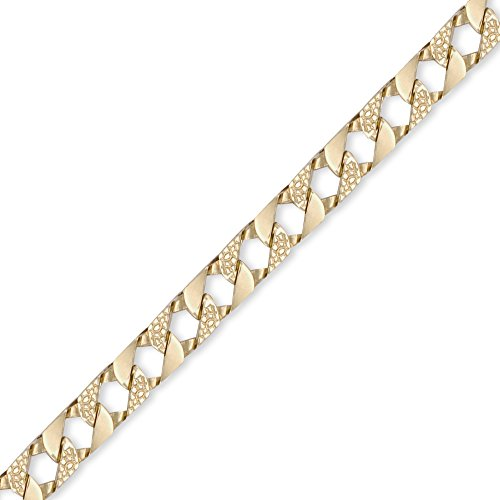 Jewelco London Men's Solid 9ct Yellow Gold London Lizard Curb 9mm Gauge Hand Assembled Cast Chain Bracelet, 8.5 inch
