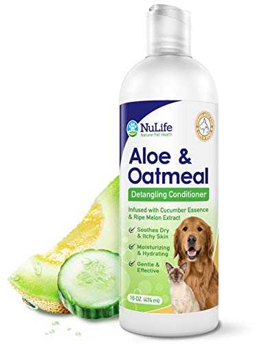 Oatmeal Dog Conditioner for Dry Itchy Skin with Soothing Aloe Vera, Suitable For All Pets, With Cucumber Essence and Ripe Melon Extract, Moisturizes and Detangles Matted Hair, 16 Oz