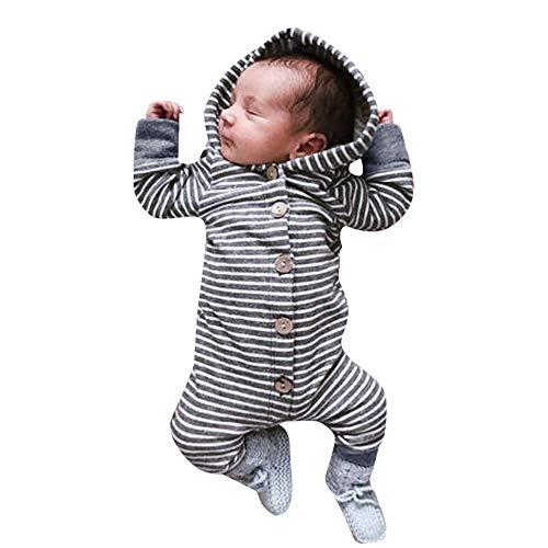 Kobay Neugeborenen Baby Mädchen Jungen Langarm mit Kapuze gestreiften Strampler Overall(3-6M,Grau)