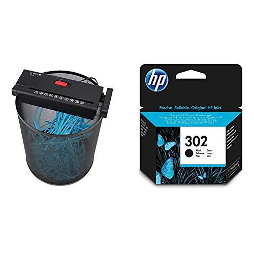 Olympia PS 16 Aktenvernichter Aufsatz mit Streifenschnitt, schwarz & HP 302 Original Druckerpatrone (für HP Deskjet 1110, 2130, 3630, HP OfficeJet 3830, 4650, 5230, HP ENVY 4520) schwarz