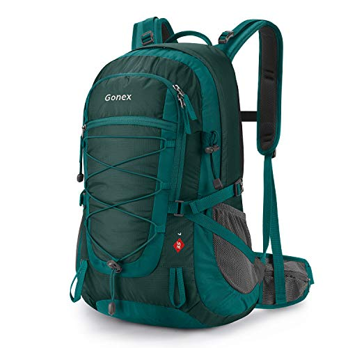 Gonex Updated 35L Hiking Backpack, Camping Outdoor Trekking Daypack, Waterproof and Backpack Cover Included (Green)