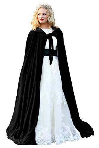 ShineGown Damen Kapuzen Braut Cape Samt Lange Hochzeit Wraps Bride Mantel Jacke Weihnachten Mäntel Halloween Kap Fluwelen Wicca Robe Vampir Schal Cosplay Partei Heks Kostüm
