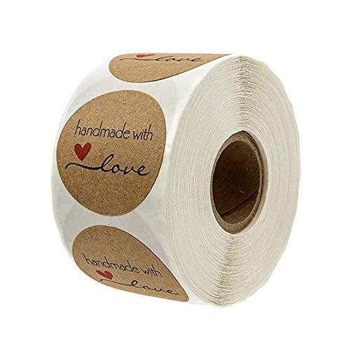 Haobase 500 Stück Roll-in Kraftpapier Aufkleber Rund Natur Kraft Handmade with Love Sticker für Backen Geschenktüten Hochzeit Thanksgiving