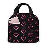 Pixel Heart Lunch Bag Fiambrera grande reutilizable con aislamiento para el trabajo Bolsa plegable para adultos con bolsillo
