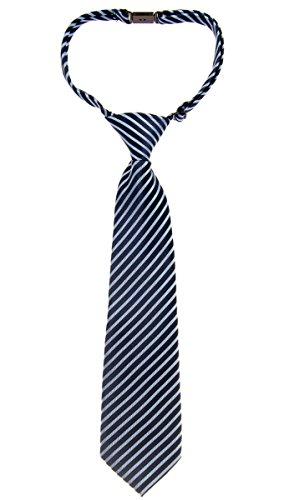 Retreez Modern Stripe Woven Microfiber Pre-tied Boy's Tie - Navy Blue with Blue - 4-7 years