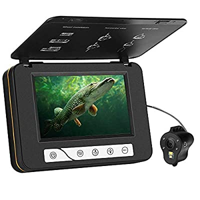 """MOOCOR Underwater Fishing Camera HD 1000 TVL 5"""" Fish Finder Video CAM White Infrared Night Vision LED DVR 8GB for for Ice Lake Sea Boat Kayak Fishing (30M/98ft)"""