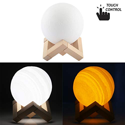 Night-Lights Creative 10cm Touch Control 3D Print Jupiter Lamp, USB Charging 2-Color Changing Energy-Saving LED Night Light with Wooden Holder Base