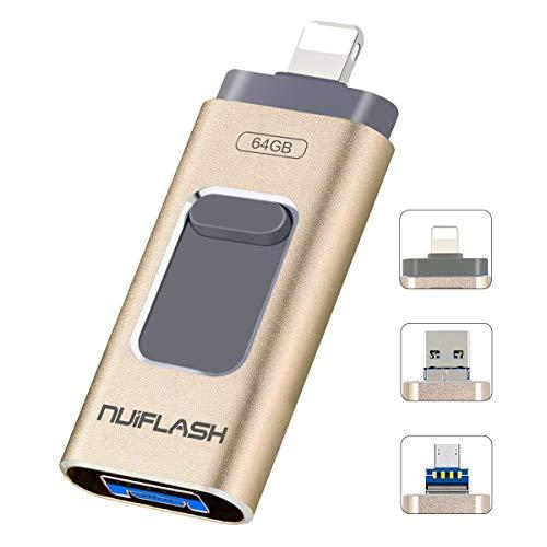 USB-Stick 64GB für iPhone speichererweiterung Speicherstick nuiflash Externer Speicherstick Flash Laufwerk Drive für iPhone iPod iPad Handy OTG Andriod Computer Mac Laptop PC