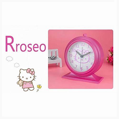 HHIAK666 Hello Kitty Kids Music Alarm Clock, Linda Cartoon Talk Silent Creative Night Light Bed Hour 14.5 X 12.5 X 5.2Cm Rojo Rosa