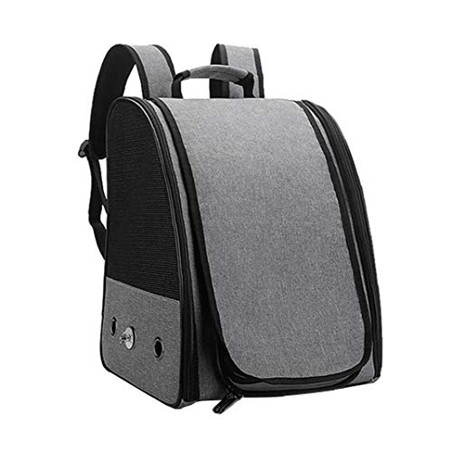 Bird Carrier Travel Cage Backpack with Stand Portable Lightweight Breathable for Parrot Pet Birds Grey