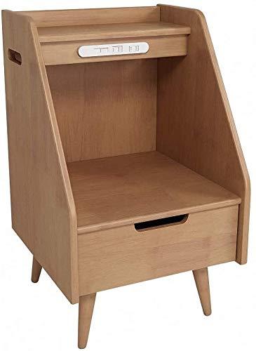 HLJ Holz Smart-Nacht, mit USB-Schnittstelle, mit offenem Regal und 1 Schublade, Schlafzimmermöbeln Kommode Fach-Speicher-Regal