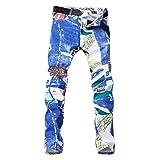 Supertong Herren Skinny Jeans Mode Trend Print Slim Fit Jeans Hose Männer Jeanshose Casaul Strecken Designer Denim Hosen Frühling Sommer Herbst Winter Freizeithose
