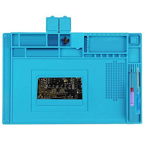 Queta Silikon Lötmatte, Hitzebeständige Magnetisch Reparatur Matte Arbeitsmatte Soldering Mat Antistatisch für Reparatur Phone Elektronik Silikon Matte, 45x 30cm, Blue