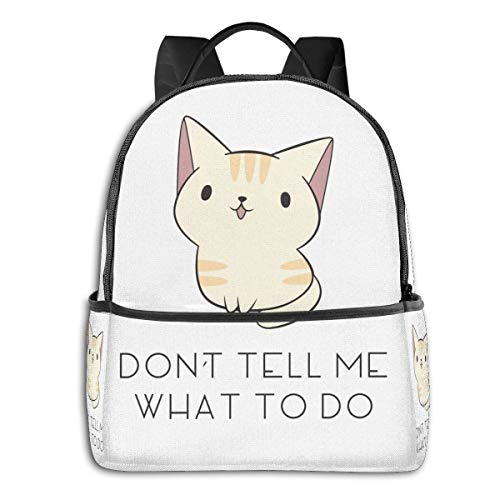 IUBBKI Schwarzer Seitenrucksack Lässige Tagesrucksäcke Don'T Tell Me Cat Student School Bag School Cycling Leisure Travel Camping Outdoor Backpack