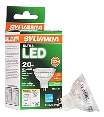 Sylvania SYLVANIA Ultra LED Flood LAMP, MR16, 5 WATTS, 3000K, 82 CRI, GU5.3 Base, 12 Volts, DIMMABLE, 6 PER CASE