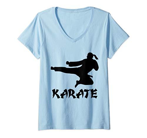 Donna Divertente Karate Martial regalo combattente di arti karate Maglietta con Collo a V