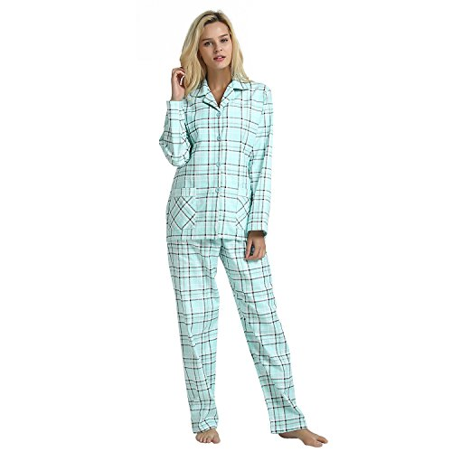 GLOBAL Comfy Pajamas for Women 2-Piece Warm and Cozy Flannel Pj Set of Loungewear Button Front Top Pants