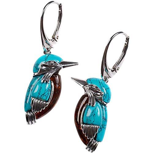 Pendientes Bluebird, estilo retro, color turquesa, un par de pendientes colgantes de pájaro azul, adecuados para todos los peinados.