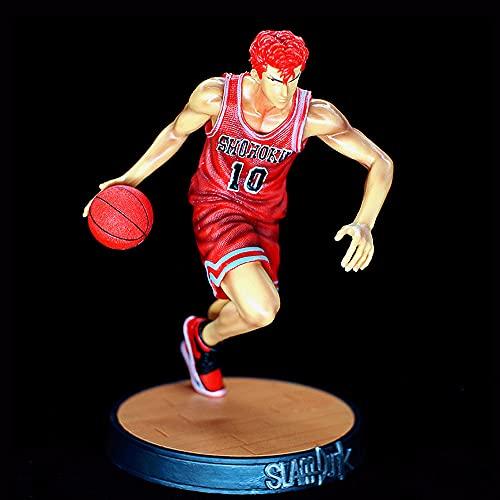Slam Dunk Figura de acción, Kit de garaje de 9.1 pulgadas Sakuragi Hanamichi, Sostiene un modelado de baloncesto, Corriendo jugando postura de baloncesto, PVC Material Anime Muñeca de hombre guapo