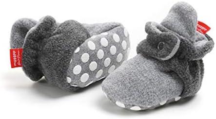 Botas de Niño Calcetín Invierno Soft Sole Crib Raya de Caliente Boots de Algodón para Bebés (6-12 Meses, L/N Gris, Tamaño de Etiqueta 12)