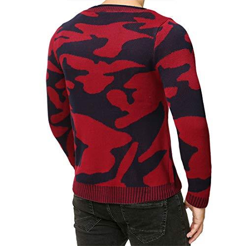 PRJN Men's Long-Sleeve Crewneck Fleece Sweatshirt Men's Printed Sweatshirt Camo Overhead Sweater Military Crew Neck Sport Casual Style Men's Sweatshirt Camo Crew Sweatshirt Men Camouflage Sweater