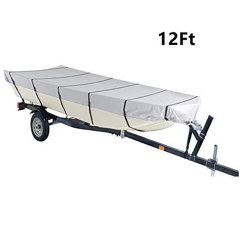 munirater 12Ft Boat Cover Waterproof Heavy Duty Trailerable Replacement for Jon Boat Grey