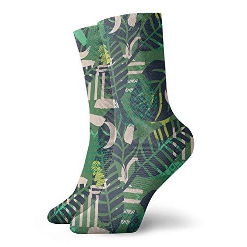 Anime calcetines Jungle Patrón Verde Abstracto Textura Súper suave de secado rápido transpirable calcetines deportivos unisex de la tripulación calcetines de 30 cm