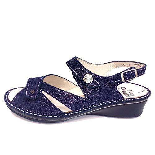Finn Comfort Santorin Atoll (Dunkelblau) - Sandale mit Loser Einlage - Damenschuhe Sandale bequem/lose Einlage, Blau, Leder (Glitter)