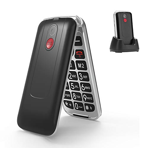 3G Seniorenhandy ohne Vertrag, Großtasten klapphandy tastenhandy,Rentner Handy mit Tasten Notruffunktion,Dual-SIM 2.8 Zoll Display(Schwarz)