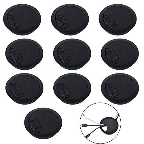 ManLee 10pz Tapa Pasacables de Mesa Oficina ø60mm Embellecedor Plastico Pasacables Circular Arandelas de Plástico de Escritorio Agujero Organizador de Alambre para Computadora Escritorios - Negro