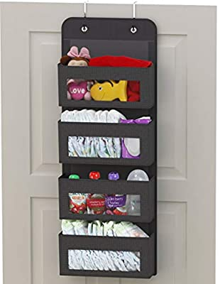 Simplehouseware Over Door/Wall Mount 4 Clear Window Pocket Organizer, Dark Grey by Simple Houseware