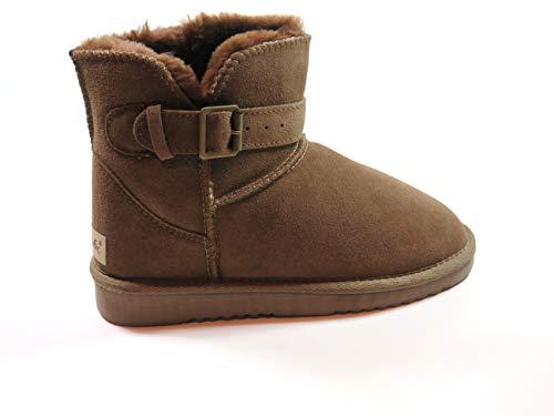 SUPER s6x Lammfell Stiefel kurz-Schaft Damen Stiefel Australisches Lammfell, Lammfell Short Boots Lammfell, Grau - Cognac - braun (38 EU, Braun)