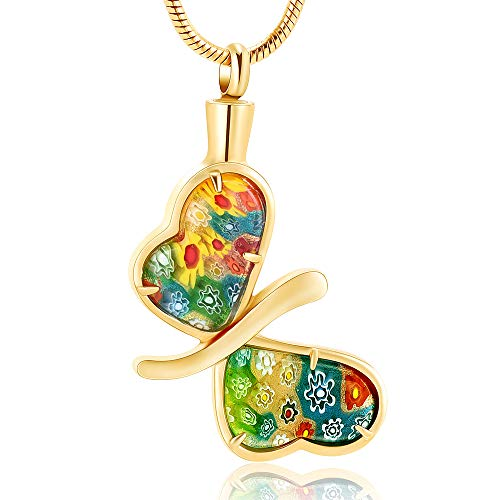 Minicremation Cremation Jewelry for Ashes - Memorial Keepsake for Beloved's Ashes Urn Pendants Butterfly Cremation Necklace for Ashes for Women (Gold)