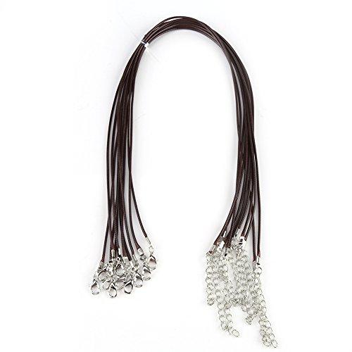 10 piezas, 1,5 mm, 18 pulgadas, cadena de collares de cordón de cera, trenzado negro, cadena de collar de cuerda de cuero de imitación trenzado con langosta para hacer joyas de bricolaje (marrón)