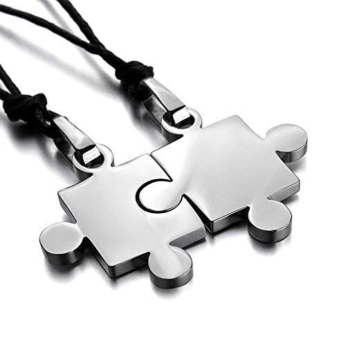 Wudi 2 en forma de dos-PC de acero inoxidable colgante Puzzle Amor cadena ajustable 20~22 cm para hombres y mujeres amantes