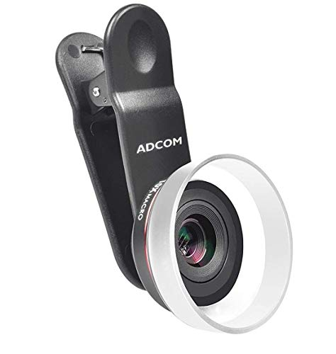Adcom AD-25MM Professional HD 10x Macro Mobile Phone Camera Lens with Lens Hood - Compatible with All iPhone & Android Smartphones (Black)