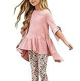 "Caitefaso Girls Cute Shirts Summer Fall Ruffle Tunic Tops 3/4 Sleeve High Low Slim Blouses Tee 3-9 T (Pink, 5-6T/ H: 45"")"
