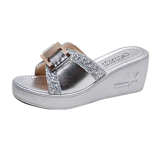 Liuchang Perfect 10 sandalias de punta abierta, sandalias de cuña para mujer, sandalias antideslizantes Baotou, plateadas_36, sandalias ergonómicas con chanclas liuchang20