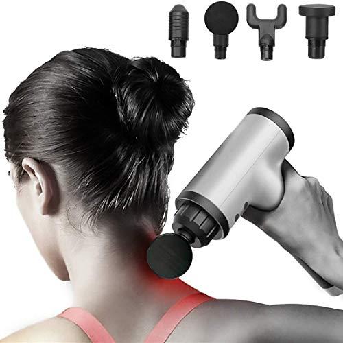 Fing Electric Massager Gun Pain Relief, Handheld Body Massager Sports Portable Super Quiet Brushless Motor Cordless Fascial Gun Massager