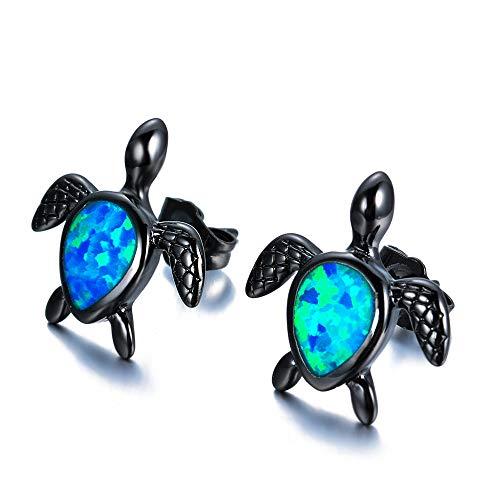 Stud Earring Opal Teardrop-shaped Tortoise Studs Pendant Earrings Jewelry Gifts for Women Girls (A)