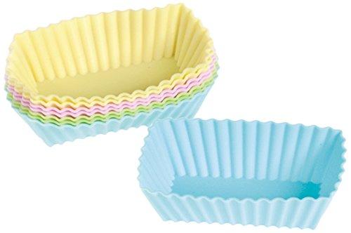 HABI Cake Design Confezione 8 Pirottini Silicone, Rettangolari, 8 x 4 cm, Pastello